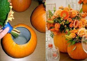 Pompoen als vaas. Super creatief en een leuke herfst DIY om zelf te maken. Bron is een plaatje van Pinterest. Plaatje is verwerkt in het bericht 10x herfst sfeer creëren. Je holt een pompoen uit, doet daar een vaas in en steekt daar je bloemen in. Super leuk!