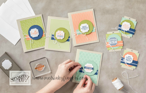Cute & simple cards using the Darling Label Punch Box with designer paper layers. Get your designer series paper stack FREE!
