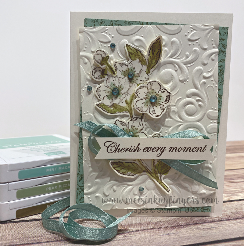 March 2020 Color Fusers using Parisian Blossoms stamp set, Cherry Blossom dies, and the Parisian Flourish Embossing Folder