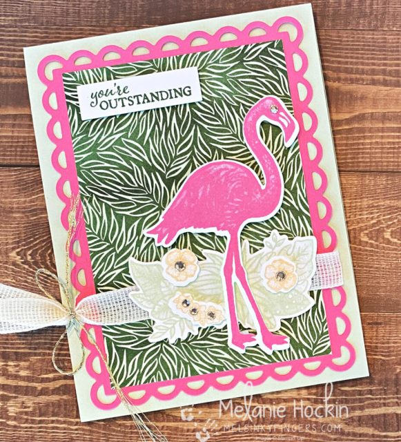 Friday Focus Friendly Flamingo bundle meets Polished Pink using 2021-2023 In Colors and Scalloped Contour Dies with Forever Greenery Designer Series Paper and Trim Combo Pack.  Cards designed by Melanie Hockin of Mel's Inky Fingers.