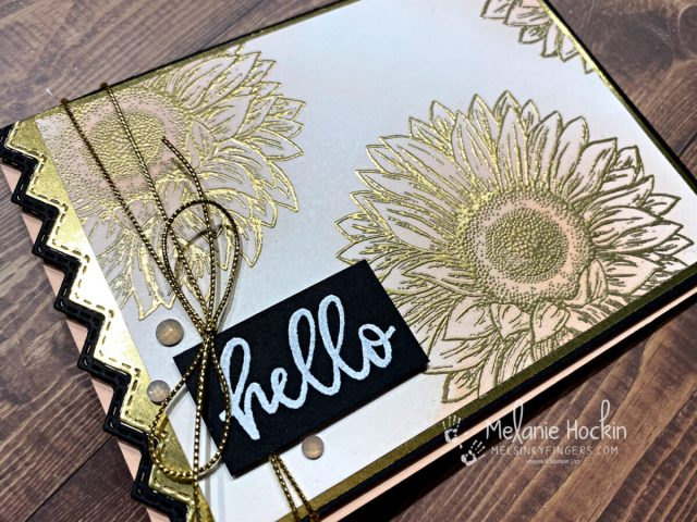 Color Fusers July 2021 Blog Hop Hello Sunflower card using embossing powder, and heat tool from Stampin' Up!