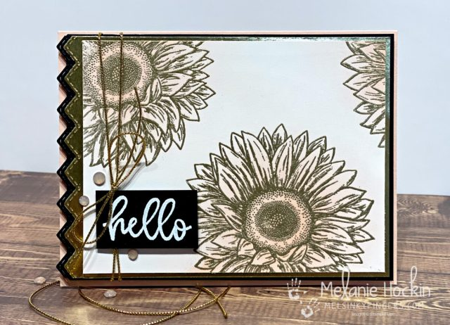 Color Fusers Blog Hop July 2021 Hello Sunflower card made with the Celebrate Sunflowers stamp set and heat embossing.  Card originally designed by Melanie Hockin of Mel's Inky Fingers.