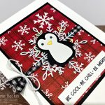 A wintery card using the Penguin Place bundle and Peaceful Prints designer series paper from Stampin