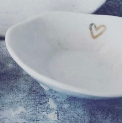 jewelry bowls with gold heart