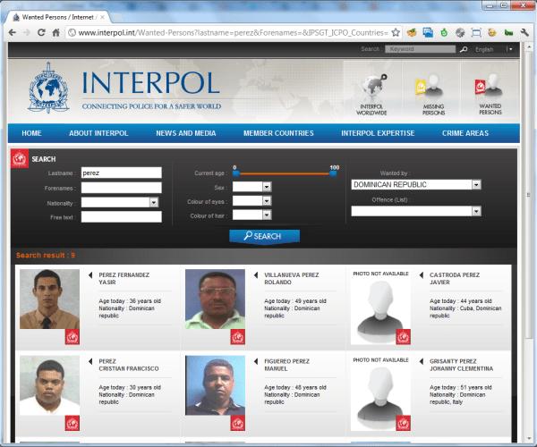 Perez buscados por interpol en República Dominicana