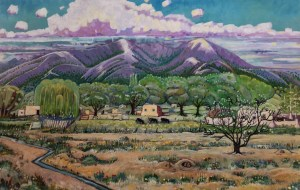 "Melwell Romancito, ""Pozzi's Field,"" oil on canvas, 30x48"