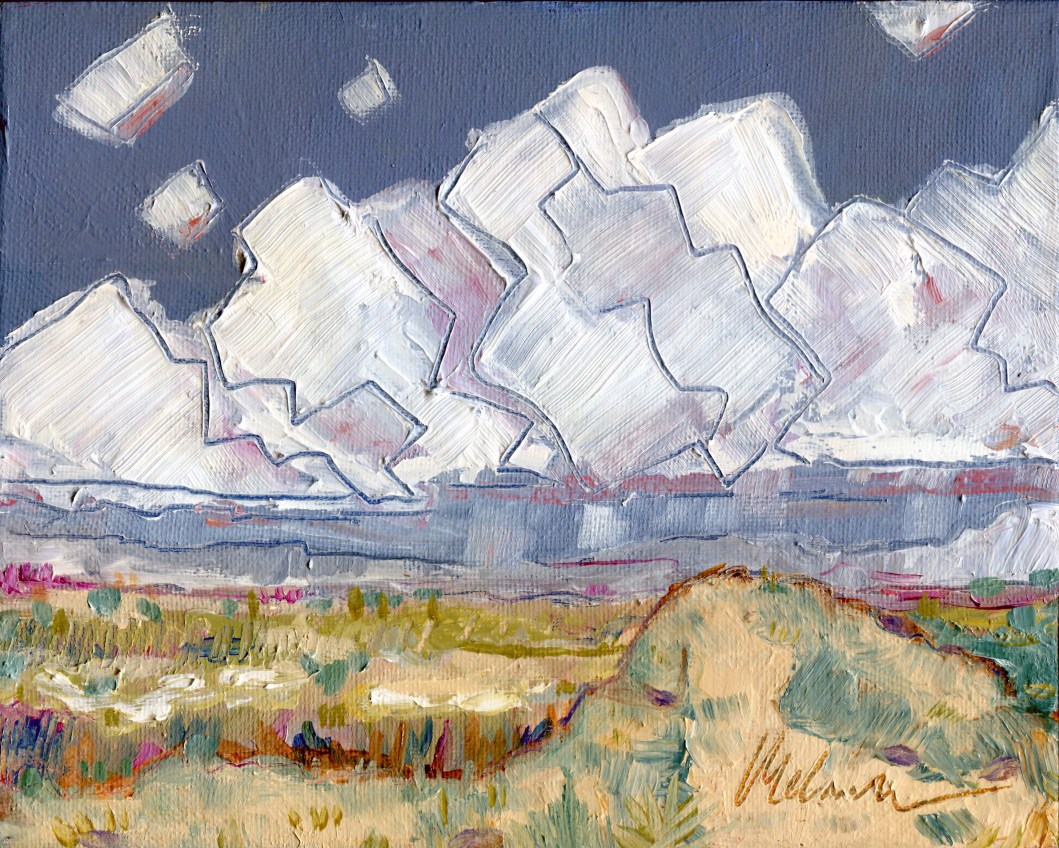 """Melwell Romancito, """"Rain in the Distance,"""" oil on canvas, 8x10"""
