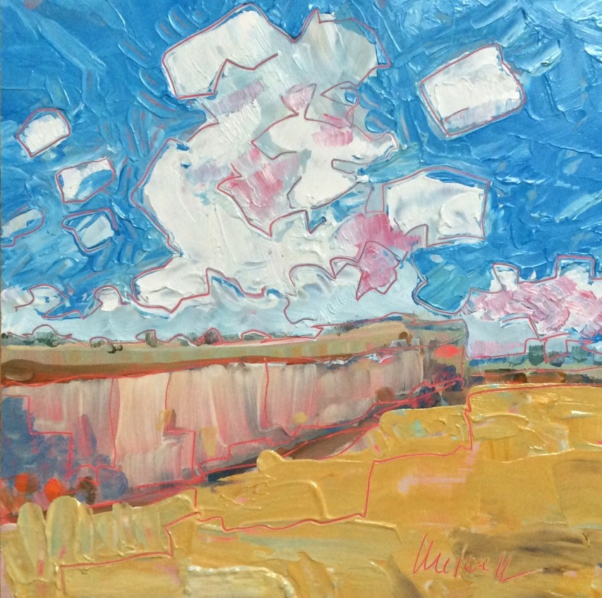 """Melwell Romancito, """"Simple Canyon,"""" oil on claybord, 6x6"""