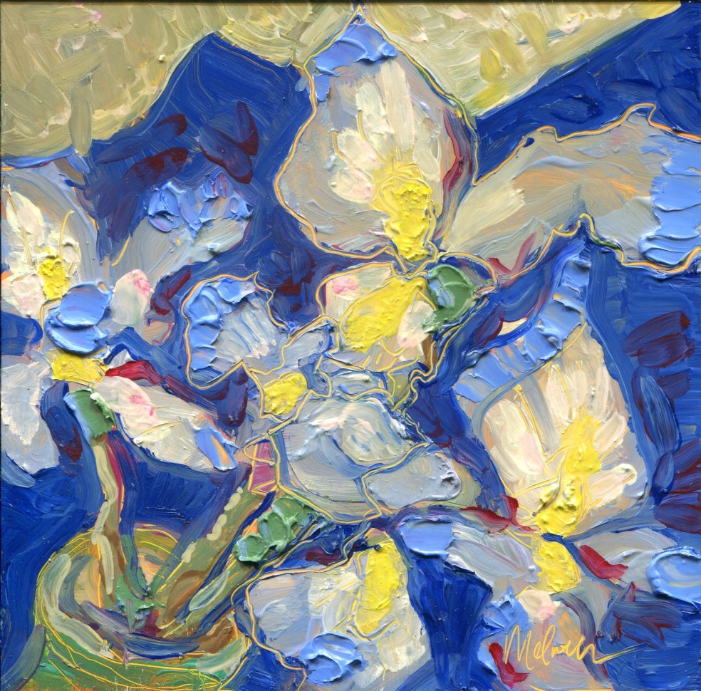 "Melwell Romancito, ""Wild Irises,"" oil on claybord, 6x6"