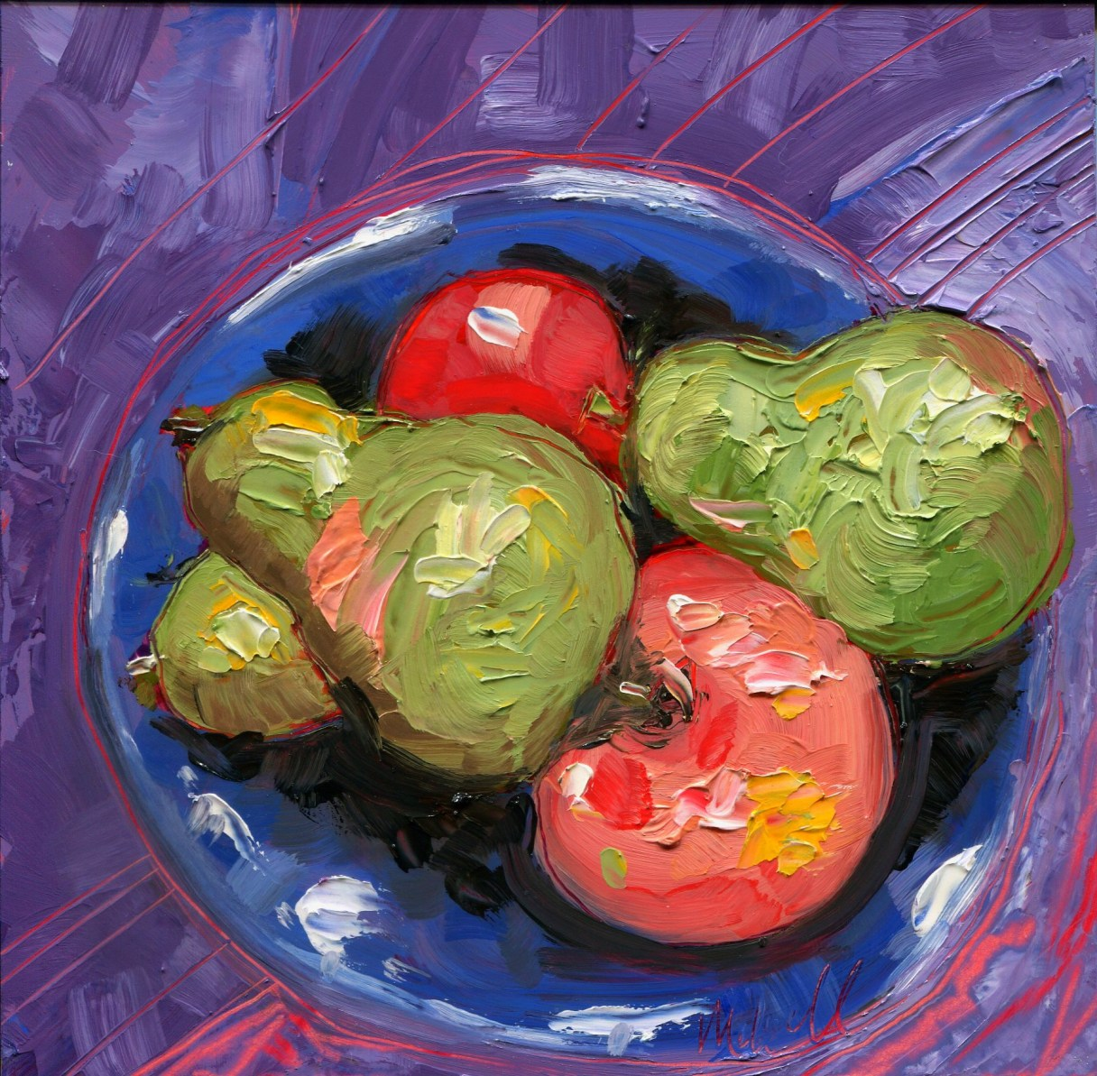 """Melwell Romancito, """"Pears and Apples,"""" oil on claybord, 6x6"""