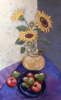 """""""Sunflowers and Fruit,"""" Melwell Romancito, oil on canvas, 30x48"""
