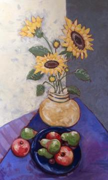 """Sunflowers and Fruit,"" Melwell Romancito, oil on canvas, 30x48"