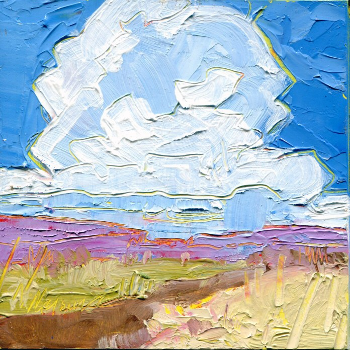 """""""Distant Downpour,"""" Melwell Romancito, oil on panel, 4x4"""