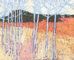 """Aspen Meadow II,"" oil on panel by Melwell Romancito, 8x10"