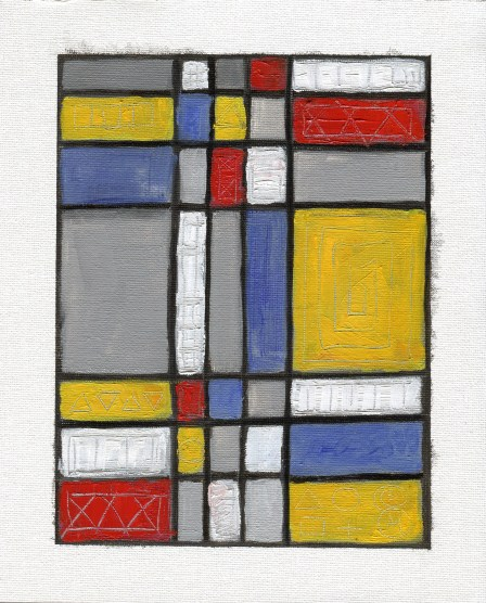 """Dirty Grid #5,"" aka ""0 4 Piet's Sake,"" oil on canvas paper by Melwell Romancito, 8x10"