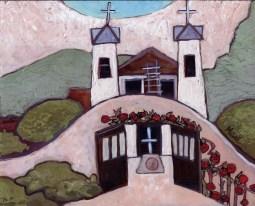 """Santuário de Chimayó,"" oil on panel by Melwell Romancito, 8x10"