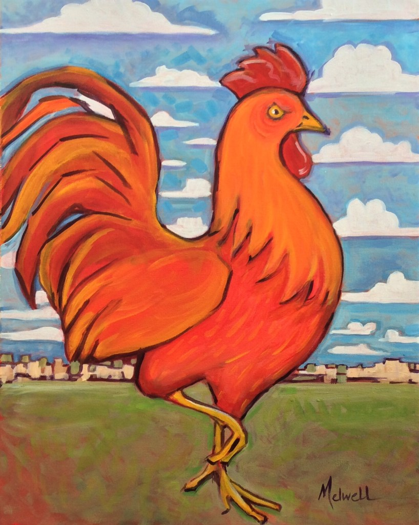"""Gallo del Cielo,"" oil on canvas by Melwell, 16x20"