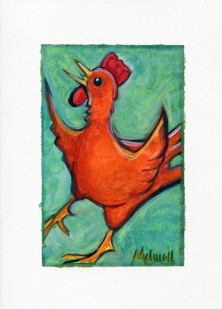 """Little Red Rooster,"" oil on paper by Melwell Romancito, 9x12"