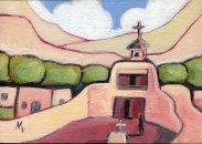 """""""The Deacon Will Unlock the Church,"""" oil on canvas panel by Melwell, 5x7"""