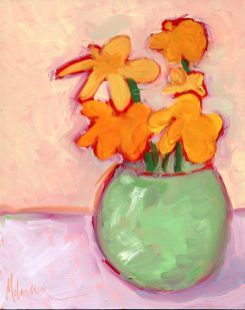 """""""First Flowers,"""" oil on wooden panel by Melwell, 10x8"""