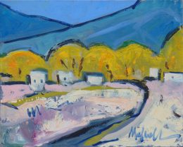 """A Field in El Prado,"" oil on canvas by Melwell, 16x20"