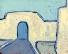 """Empty Courtyard II,"" oil on panel by Melwell 8x10"