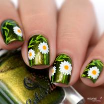 Nail art paquerettes 1
