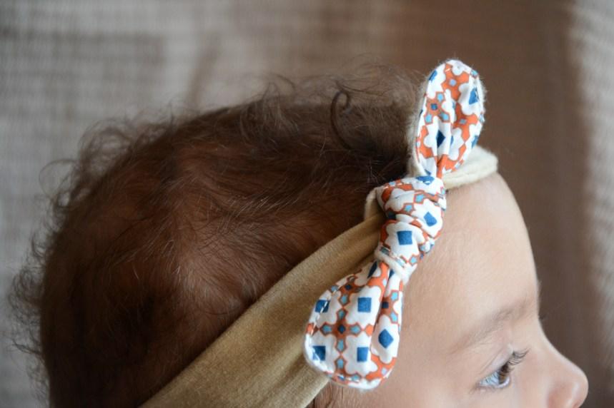 Headband bébé en jersey bio et noeud amovible