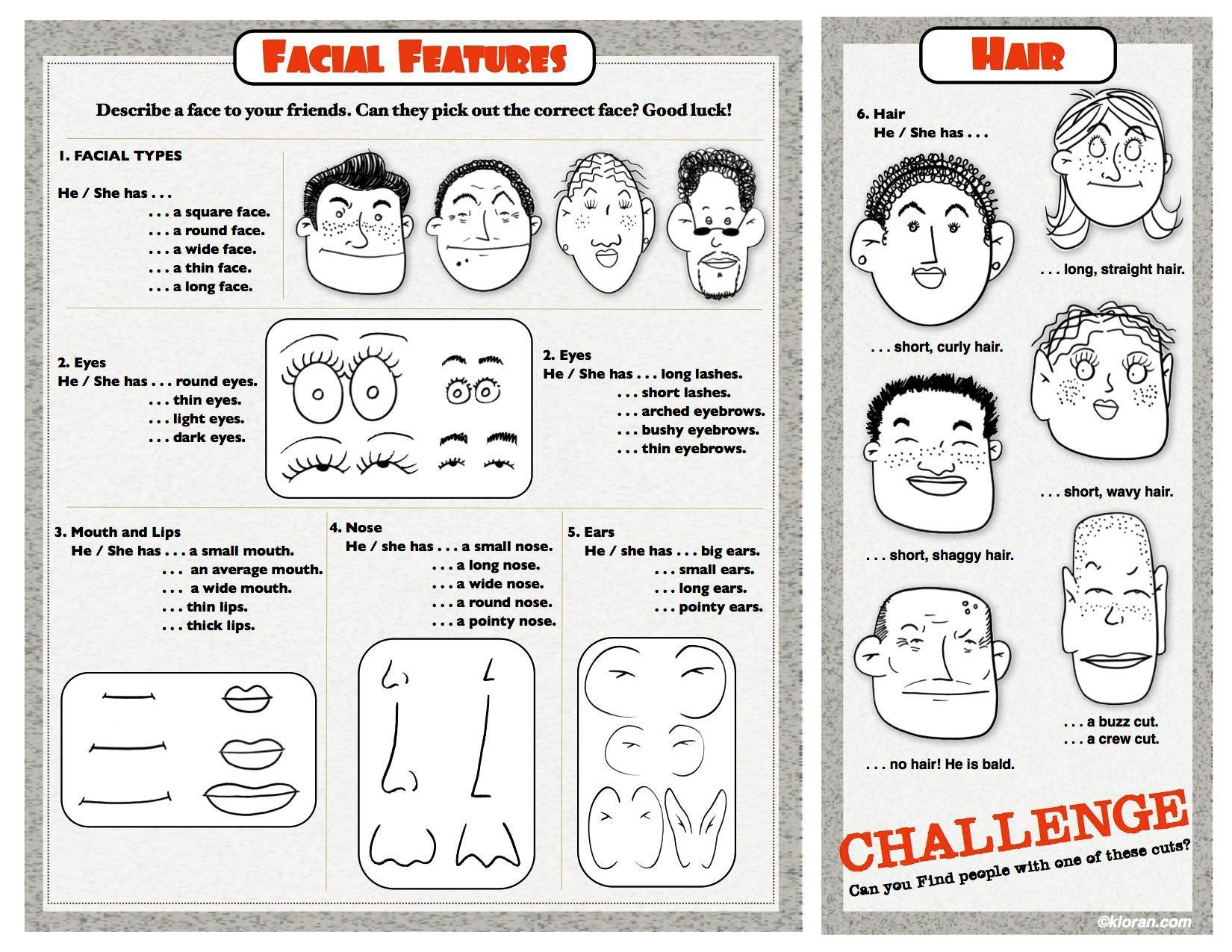 Esl Describing Facial Features