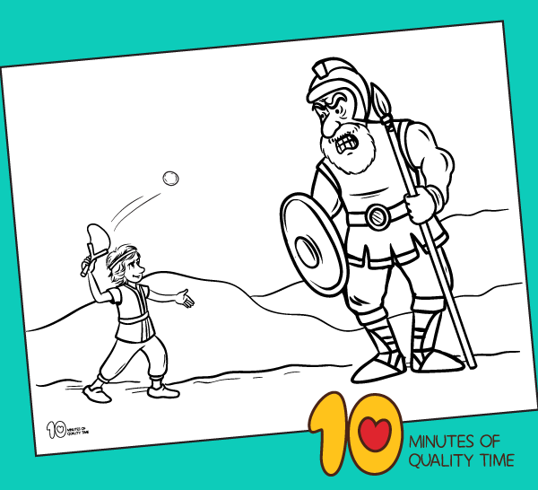David And Goliath Bible Coloring Page 10 Minutes Of Quality Time
