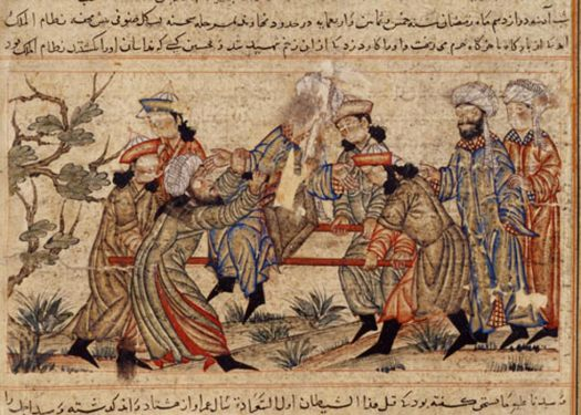 Assassins had a notorious reputation. Illustration of an agent of the Ismailis (Order of Assassins) (left, in white turban) fatally stabs his target.