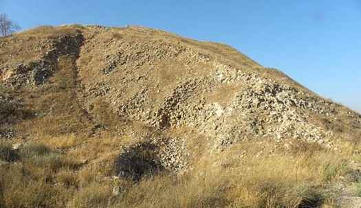 An Assyrian siege ramp outside of Lachish, now Shephelah Southern District, Israel. Lachish archaeological site.
