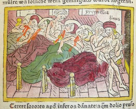 Woodcut of 49 of the Danaids killing their husbands, while Hypermnestra tells Lynceus to flee.