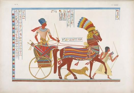 Egyptian chariot, accompanied by a cheetah and archer