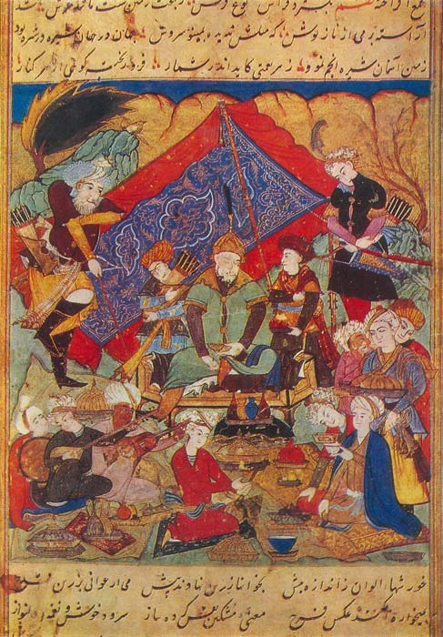 Emir Timur feasts in the gardens of Samarkand. (Public Domain)