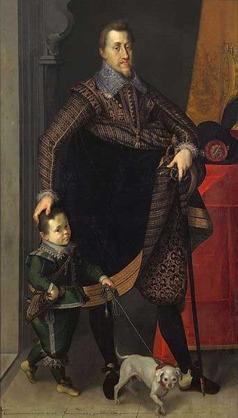 Ferdinand II of Habsburg, Emperor of the Holy Roman Empire, King of Hungary and Bohemia with his court dwarf.