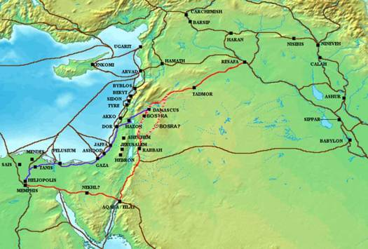 King's Highway (red), and other ancient Levantine trade routes, c. 1300 BCE