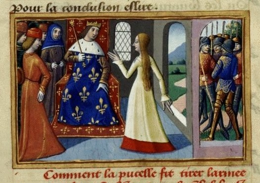 Miniature from Vigiles du roi Charles VII. Joan of Arc and Charles VII, king of France.