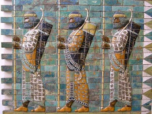 Mosaic depicting Persian archers. (Pre 4th Century BC)
