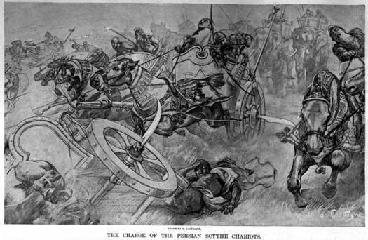 Persian scythed chariots.