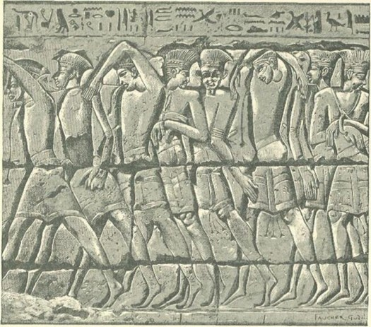 Philistine captives of the Egyptians, from a graphic wall relief at Medinet Habu. In about 1185-52 BC, during the reign of Ramesses III.