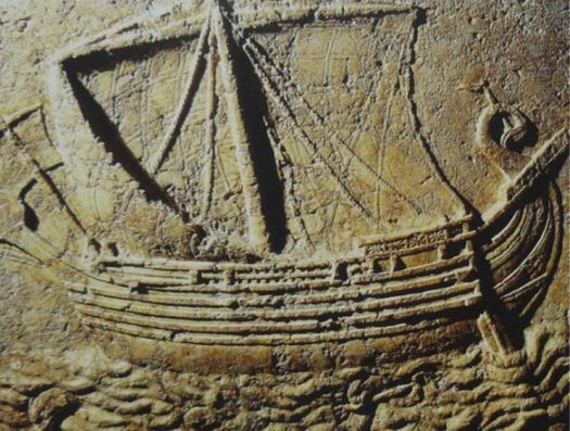 Phoenician ship Carved on the face of a sarcophagus. 2nd century AD.