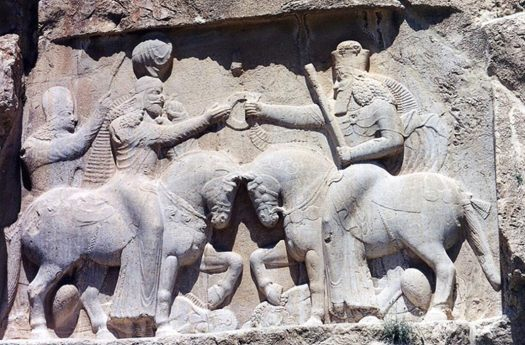 Relief of the Coronation of Ardashir I at Naghsh-e-Rostam. Ardashir is receiving the Kingship's ring from Ahuramazda.