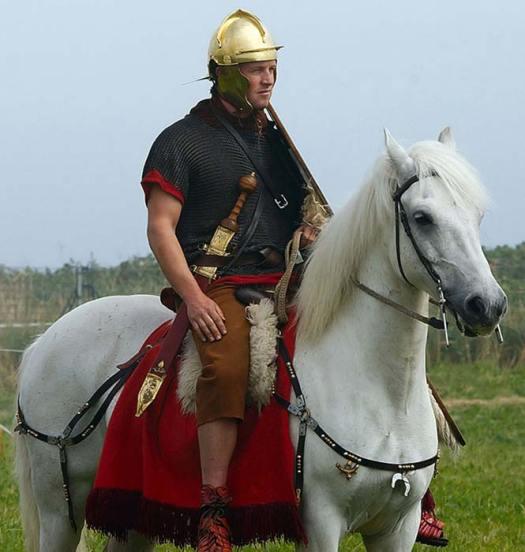Roman cavalry reenactor wearing a replica spatha