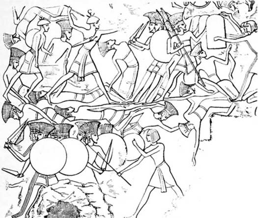 Sea Peoples in conflict with the Egyptians in the battle of Djahy.