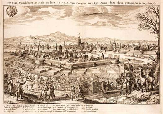 Swedish infantry and cavalry led by the Swedish king Gustav II Adolf march through Frankfurt, 17 November 1631. Cannons firing.
