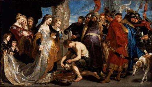 """Tomyris Plunges the Head of the Dead Cyrus Into a Vessel of Blood"" by Rubens."