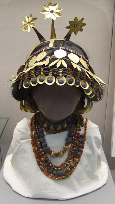 A reconstruction in the British Museum of headgear and necklaces worn by the women in some Sumerian graves.