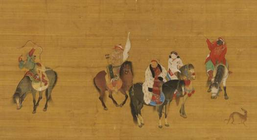 This c. 1280 painting depicts an archer shooting a traditional Mongol bow from horseback [left]