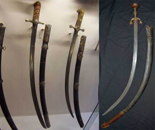 The sabre [left] and the scimitar [right] were curved swords of a type as used by the Mongol military